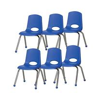 """ECR4Kids 14"""" School Stack Chair, Chrome Legs with Ball"""
