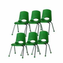 ECR4Kids School Stack Chair with Chrome Legs/ Ball Glides,