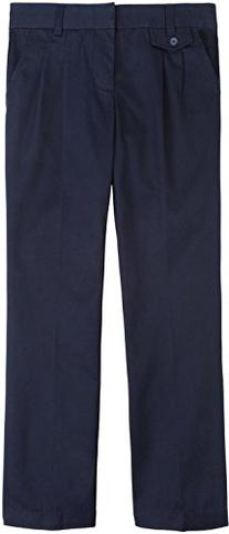 French Toast Adjustable Waist Pleated Pant Girls Navy 20