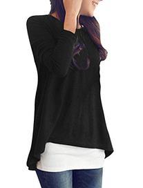 Allegra K Women Scoop Neck Long Sleeve T Shirt Loose High