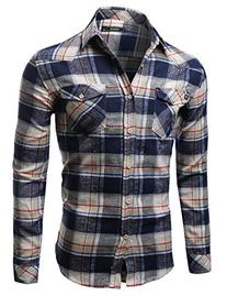 Scotch Plaid Flannel Long Sleeve Button Down Shirt Navy Size
