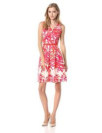 Taylor Dresses Women's Scribble Print Fit and Flare V-Neck