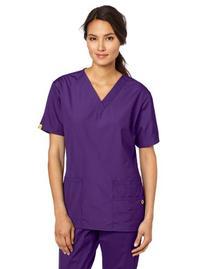 WonderWink Women's Scrubs Bravo 5 Pocket V-Neck Top, Grape,