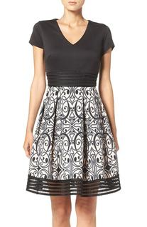Women's Taylor Dresses Scuba Fit & Flare Dress, Size 14 -