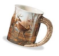 Wild Wings Sculpted Mugs - Autumn Run Antler Handle 16oz