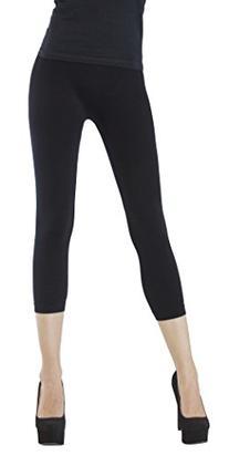 D&K Monarchy Women's Seamless Capri Thin Leggings, Black,