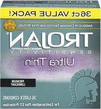Trojan Sensitivity Ultra Thin Premium Lubricant Condom 36 Ct