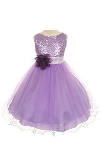 Kid's Dream Girl's Lilac Sequin Bodice Mesh Girl Dress-lilac