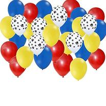 Amscan Paw Party Balloons, Paw Print, Red/Yellow/Blue, Set