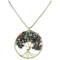 Seven Color Jade Stone Eternal Tree of Life Brass Long