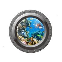 Vktech® Shark Ocean View Wall Sticker 3D Porthole Window