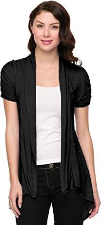 Sheer Short Sleeve Cardigan Cover-up, S, Black