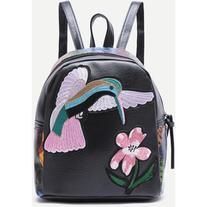 SheIn Black Bird Embroidered PU Backpack