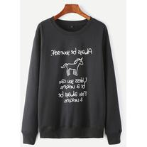 SheIn Black Unicorn And Slogan Print Sweatshirt