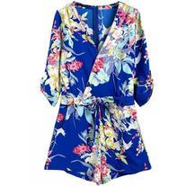 SheIn Blue V Neck Floral Tie-Waist Jumpsuit
