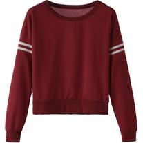 SheIn Burgundy Varsity Striped Crop Sweatshirt