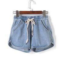 SheIn Drawstring With Pockets Denim Shorts
