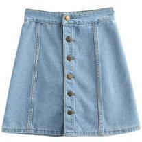 SheIn Light Blue Empire Waist Buttons Front Denim Skirt