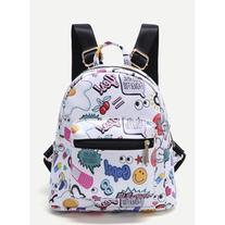 SheIn White Cartoon Print Pocket Front PU Backpack