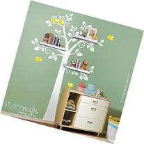 Shelves Tree Wall Decal for Nursery, Owls Tree Wall Decal,