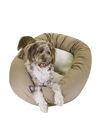 40 inch Khaki & Sherpa Bagel Dog Bed By Majestic Pet