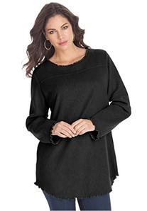 Roamans Women's Plus Size Sherpa Tunic Black,2X