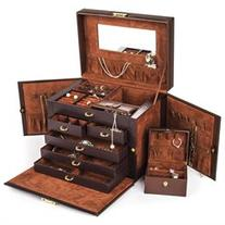 Shining Image Brown LEATHER JEWELRY BOX / CASE / STORAGE /
