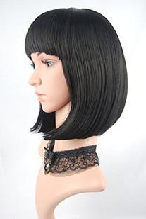 eNilecor Straight Short Hair Bob Wigs 12'' with Flat Bangs