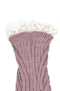 Womens Short Lace Knit Leg Warmers