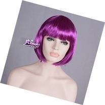 40cm Short Purple Wavy BOBO Girls Party Full Hair Anime