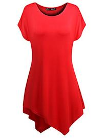 TWINTH Plus Size Tunic Loose Fit High Low Short Sleeve RED