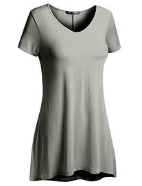 Thanth Womens Short Sleeve Comfy Loose Fit Long Tunic Top