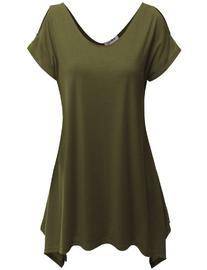 Doublju Women Comfortable Unbalanced Hemline Cap Sleeve Plus