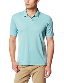 Perry Ellis Men's Short Sleeve Open Polo, Dusty Turquoise,