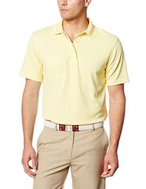 PGA TOUR Men's Short Sleeve Poly Solid Polo with Pocket,