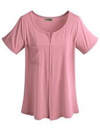 Doublju Womens Short Sleeve Slit V-Neckline T-Shirt With