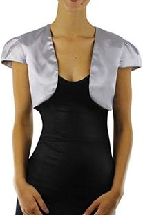 Luxury Divas Silver Short Sleeve Satin Style Bolero Shrug