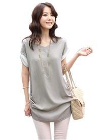 V28® Women's Short Sleeve Semi Sheer Loose V Neck Shirt