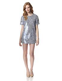 Glamorous Women's Short Sleeve Sequin Dress, Blue/White, X-