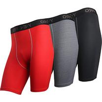 Neleus Men's Performance Shorts 3 Pack,Black,Grey,Red,US L,