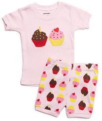 "Leveret Shorts ""Cupcake"" Little Girl 2 Piece Pajama 100%"