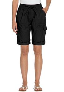 Women's Plus Size Shorts With Convertible Tabs Black,24 W