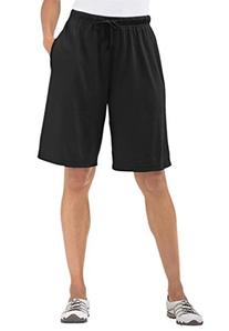 Women's Plus Size Shorts In Soft Sport Knit Black,M