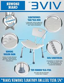 Shower Chair with Back by Vive - Bathtub Chair w/ Arms for