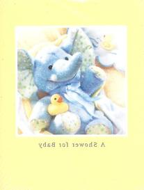 10 Count Baby Shower Invitations - Blue Stuffed Elephant