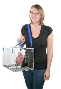 Crystal Shuttle Bird Carrier, Clear with Blue Carrying Strap
