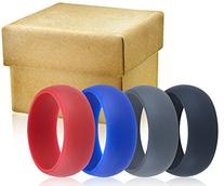 Mens Silicone Wedding Ring Wedding Band - 3 Rings Pack - 8.