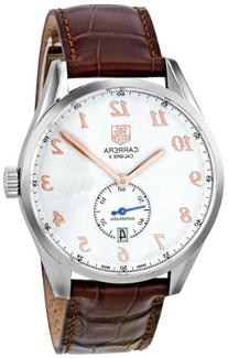Tag Heuer Men's 'Carrera' Silver Dial Brown Leather Strap