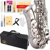 Glory Silver E Flat Alto Saxophone with 11reeds,8 Pads