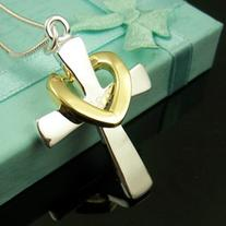 925 pure silver fashion necklace gold cross male women's